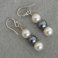 White and Grey Pearl Drop Earrings with Sterling Silver