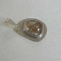 Pendant in Sterling Silver with Freeform Gemstone of Rutilated  Quartz,  P67