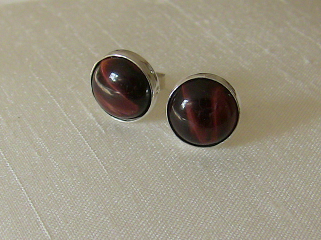 Sterling Silver and Red Tiger's Eye Stud Earrings,  E89