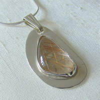 Sterling Silver Freeform Pendant with Rutilated Quartz Gemstone,