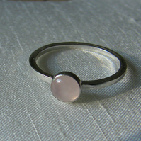 Silver Ring with Rose Quartz,  size R