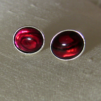 Sterling Silver and Red Paua Shell Oval Stud Earrings, E91A