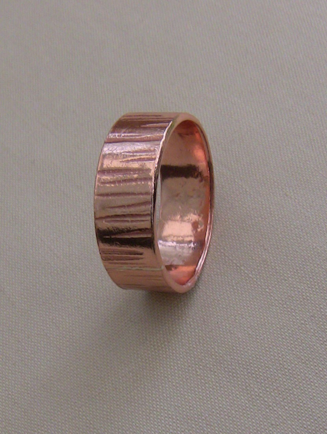 Hammered Copper Ring, Handmade, size P