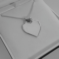 Chunky Sterling Silver Heart Pendant, Hallmarked