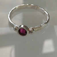 Silver Ring, Hammered, with Pink Swarovski Crystal