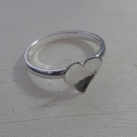 Valentine's gift - Sterling Silver Ring with Domed Heart, size N, O.
