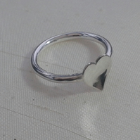 Domed Heart Ring in Sterling Silver, size M and P,  R86