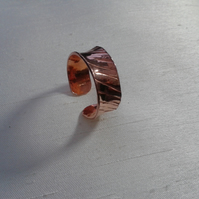 Textured Copper Adjustable Open Ring, size N-T,   R79