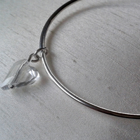 Sterling Silver Bangle with Crystal Heart Charm