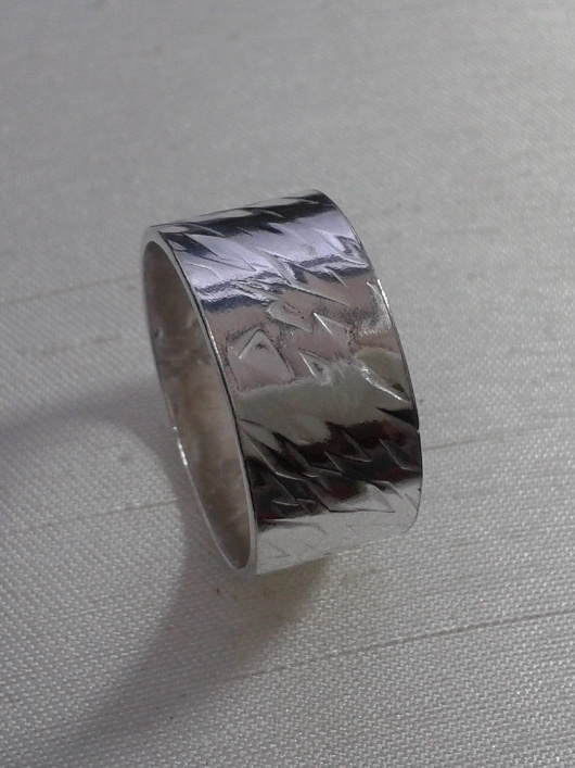 Sterling Silver Ring, Wide, Hammer-textured, size N,   R83