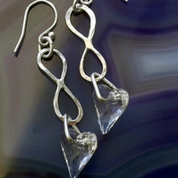 Sterling Silver Infinity Drop Earrings with Crystal Hearts,E94