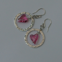 Valentine's gift- Sterling Silver Drop Earrings with  Pink Crystal Hearts, E75B