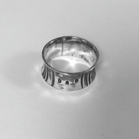 Gift for him - Hammered Sterling Silver 'DAD' ring