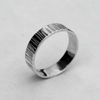 Wide, Cross-hammered Sterling Silver Man's Ring, Hallmarked, size W&half