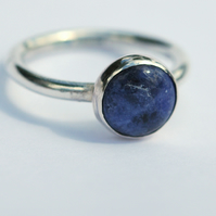 Small Sterling Silver Ring with Sodalite Gemstone,  size I-J,  R64B