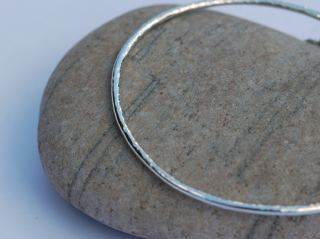 Hammered Sterling Silver Stacking bangle, hallmarked, B35