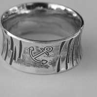 Wide Sterling Silver Hammered Ring with Anchor, size S,  R90B