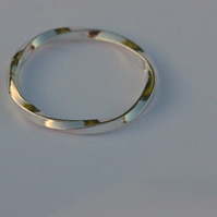 Sterling Silver slimline Twist Ring, size M and half,  R94A