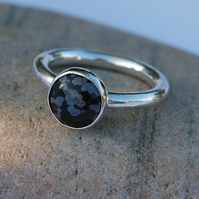 Chunky Sterling Silver Ring with Snowflake Obsidian Gemstone, size R,  R96