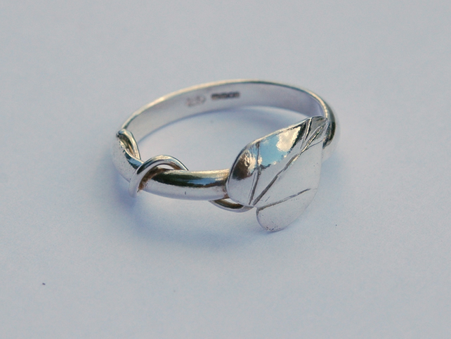 Silver Ring with Leaf and Tendril, sterling silver, size R