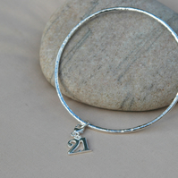 21st Birthday - Hammered Sterling Silver Bangle with 21 Charm, Hallmarked, B70B