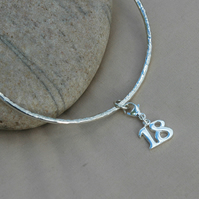 Sterling Silver Bangle, Hammered with '18' Charm