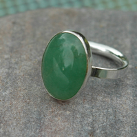 Sterling Silver Ring with Aventurine Gemstone,  size M and Q,  Hallmarked,  R99