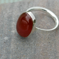 Silver Ring with Carnelian Gemstone, Hallmarked, size Q