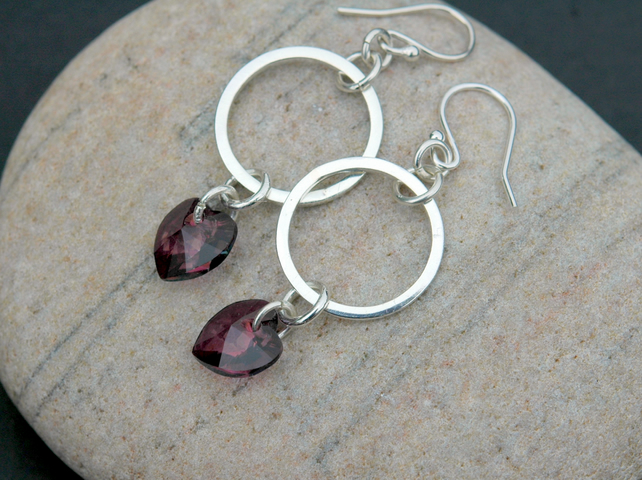 Sterling Silver Drop Earrings with Hoops and Amethyst Crystal Hearts, E99