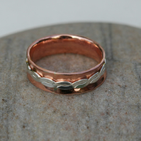 Copper and Sterling Silver Double Ring, size P-Q
