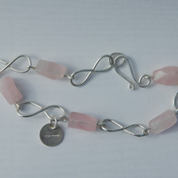 Sterling Silver Infinity Link Bracelet with Rose Quartz Gemstones,  B72