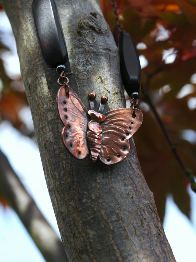 Rustic Copper Butterfly Pendant Necklace
