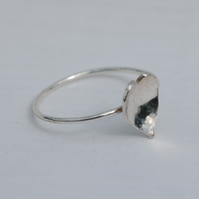 Dainty sterling silver heart slimline stacking ring,  size Q and R,  R50