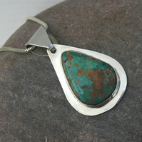 Sterling Silver Teardrop Pendant with Pilot Mountain Turquoise, Hallmarked, P128