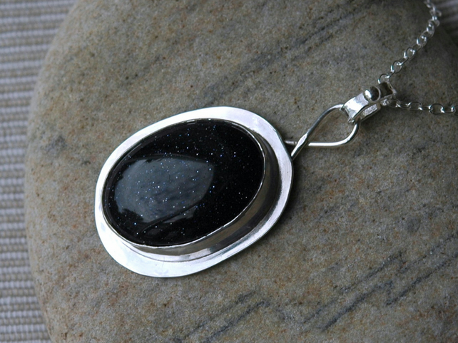 Oval Pendant in Sterling Silver with Large Blue Goldstone Cabochon, P127
