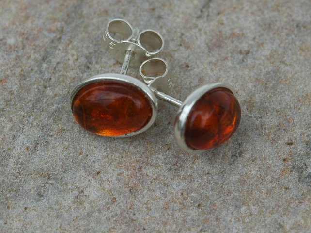 Amber and Sterling Silver Oval Stud Earrings,  E81C