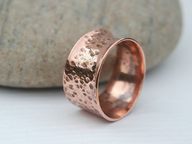 Chunky Forged Copper Ring, His or Hers, size U,   R31