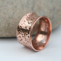 Chunky Forged Copper Ring, His or Hers, size U