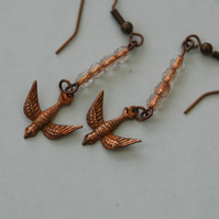 Flying Swallows Copper Bird Dangle Drop Earrings