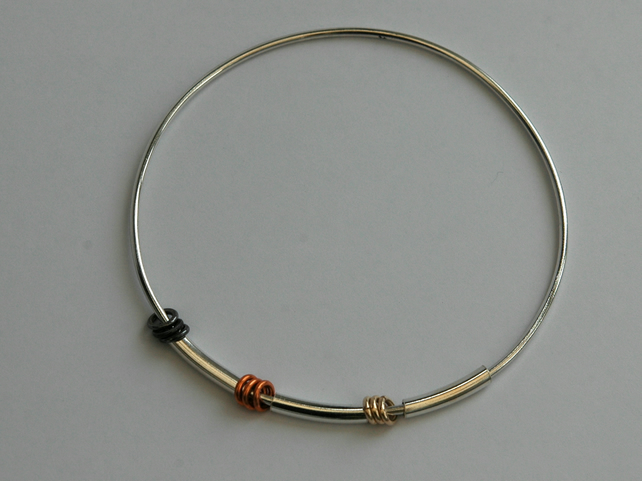 Three Metals Mobile Bangle in Sterling Silver with 9ct Gold and Copper,  B81