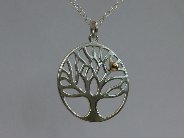 Sterling Silver Tree of Life Pendant with Golden Apple,  P132
