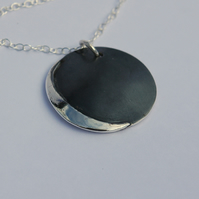 Crescent Moon Pendant in Sterling Silver, Domed and Oxidised, Reversible,  P133