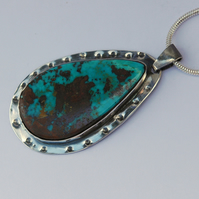 Sterling Silver and Turquoise Teardrop Pendant,  P129