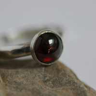 Sterling Silver Ring with Garnet Gemstone, Hallmarked,  Size P