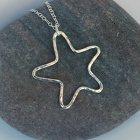 Open Star Pendant Necklace in Sterling Silver, Hammered, P136
