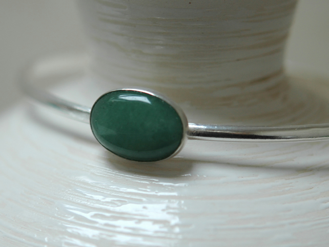 Sterling Silver Bangle with Green Moss Agate Gemstone, Hallmarked,  B75A