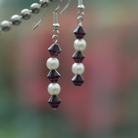 50% off Ruby and Pearl Beaded Drop Earrings, E52