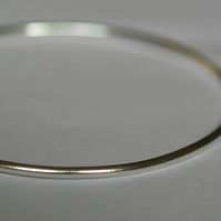 Sterling Silver Stacking Bangle, 2mm wide Round Wire, Plain, Hallmarked,  B85D