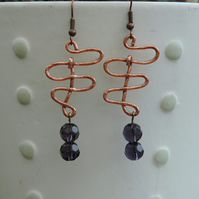 SALE! 50% off Hammered Copper Zigzag Drop Earrings with Amethyst Beads,  E38