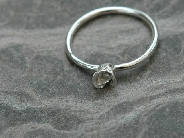 Dainty Rose Ring in Sterling Silver,  size O